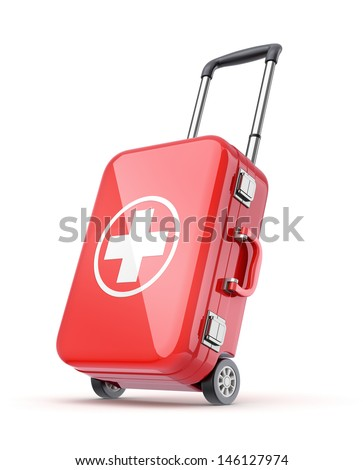 First aid kit for travel - stock photo