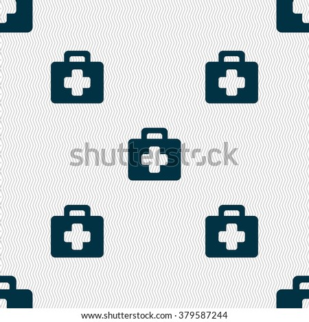 first aid kit icon sign. Seamless pattern with geometric texture. illustration - stock photo