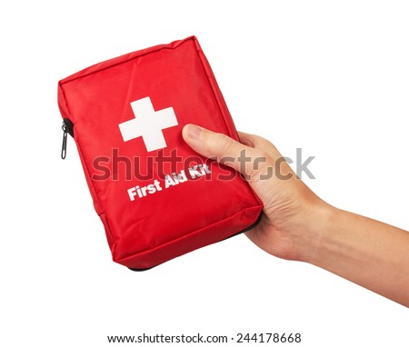 First Aid Kit in hand, Isolated on white background - stock photo