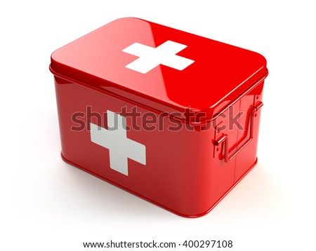 First aid kit isolated on white. 3d - stock photo