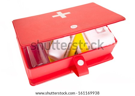 first aid kit on a white background - stock photo
