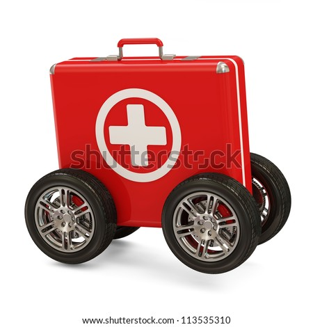 First Aid Kit on Wheels isolated on white background - stock photo