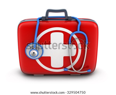 first-aid kit on white background (done in 3d) - stock photo