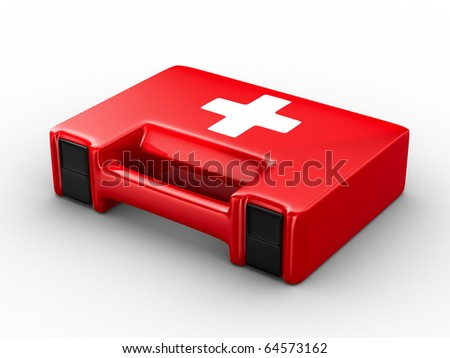 First aid kit on white background. Isolated 3D image - stock photo
