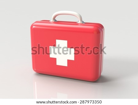 First aid kit. Red doctor's bag with white cross on gray background. Emergency, healthcare, paramedic assistance concept.  - stock photo