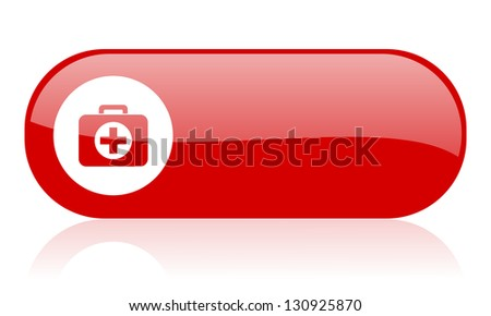 first aid kit red web glossy icon - stock photo