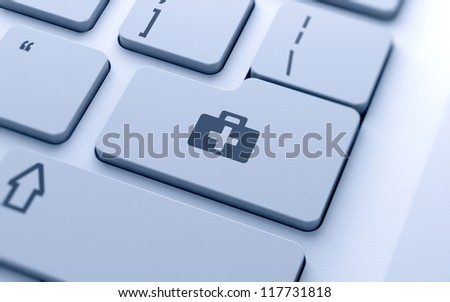 First aid kit sign button on keyboard with soft focus