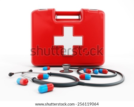 First aid kit, stethoscope and pills isolated on white background