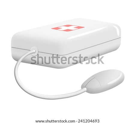 First aid kit with computer mouse isolated on white background