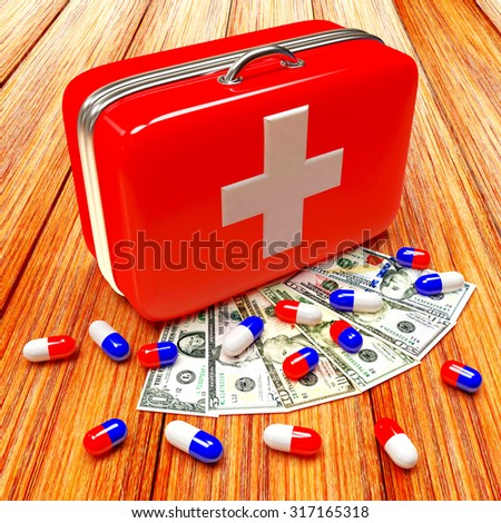 First aid kit with medical capsule and dollar bills on wood background