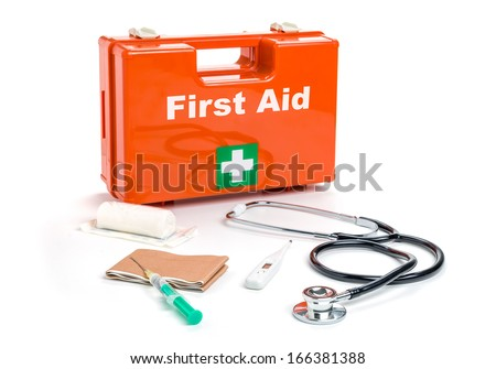 First aid kit with medical products and equipment - stock photo