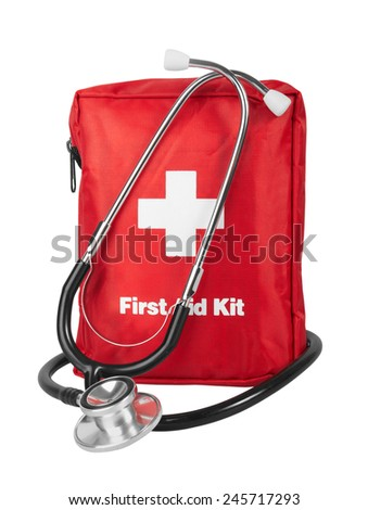 First Aid Kit with stethoscope, Isolated on white background