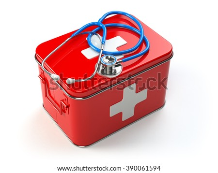 First aid kit with stethoscope isolated on white. Medical equipment. 3d - stock photo