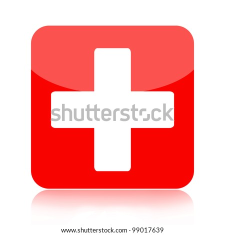First aid medical button isolated on white background