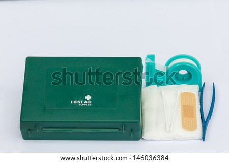 First AID on the white background - stock photo