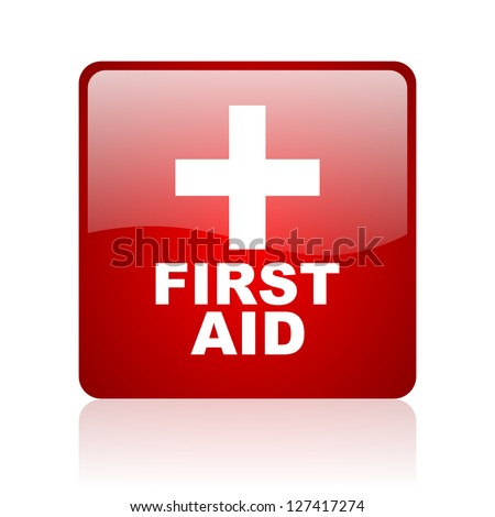 first aid red square glossy web icon on white background - stock photo