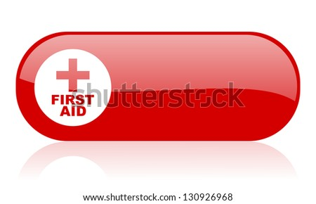 first aid red web glossy icon - stock photo