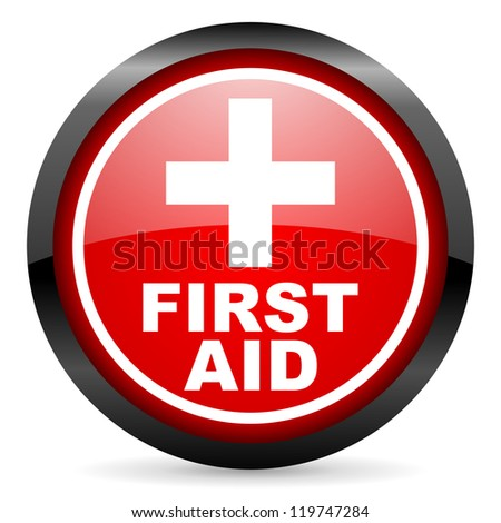 first aid round red glossy icon on white background - stock photo