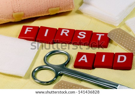First Aid Sign. - stock photo