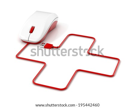 First aid sign and computer mouse. 3d illustration. - stock photo