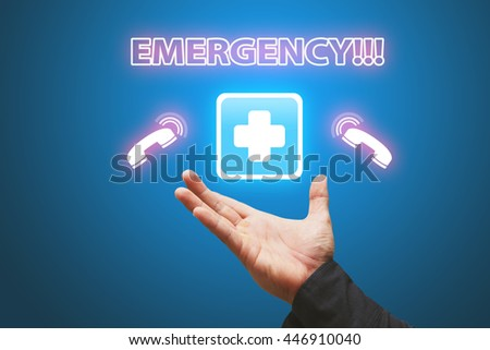 First Aid sign and emergency call - stock photo