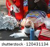 First aid - street accident - stock photo
