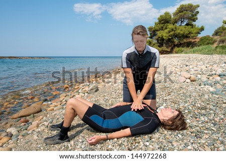 First aid training for Scuba divers - stock photo