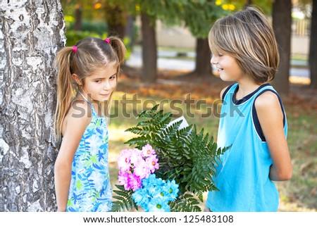 First Children love-St Valentin's Day - stock photo