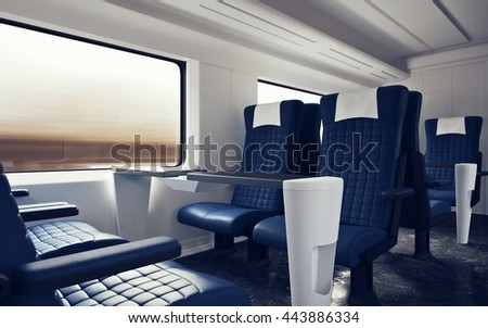 First Class Cabin Modern Speed Express Train Comfortable Seats and Table  Business Travel 3D Stock Illustration