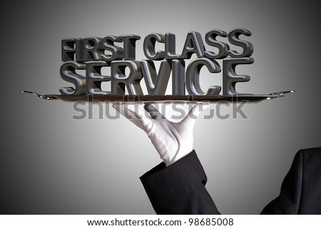 First class Service served on a dinner tray - stock photo