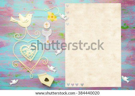 First Communion invitation card, religious symbols on colorful wood and  white space to put photo and text - stock photo