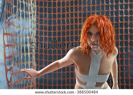First day of her life.  Horizontal portrait of a beautiful young android woman looking to the camera  - stock photo