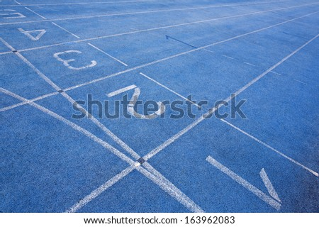First five lanes of an athletics track