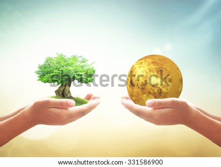 First, human hands holding big tree. Second, holding golden Venus ball over on blurred nature background. Ecological city, Ecology, World Environment concept. Elements of this image furnished by NASA. - stock photo