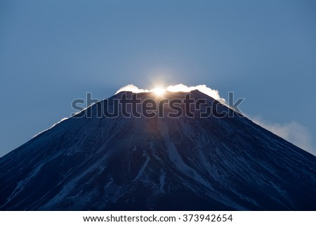 First Japan sunrise of year 2016 at Top of Mountain Fuji  - stock photo