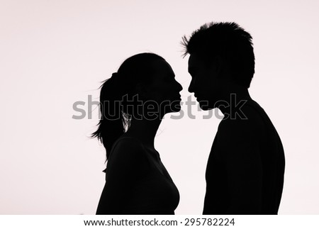 First kiss. - stock photo