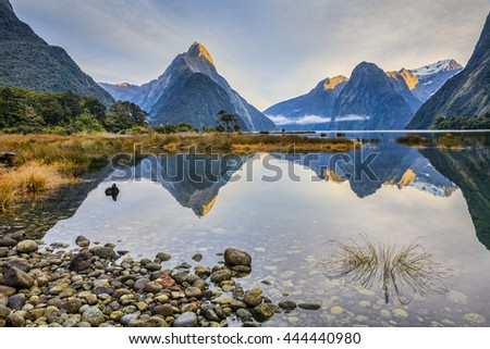 First light on Mitre Peak and surrounding mountains at Milford Sound, Fiordland, in New Zealand's South Island.