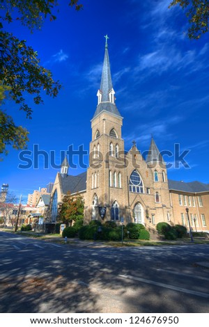 First Lutheran Church, located at the corner of Eight and Rock in the historical Quapaw Quarter District of Little Rock, was founded in 1868. The current church building was constructed in 1888. - stock photo