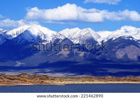 First Mountain Snow in Colorado, United States. Rocky Mountains. - stock photo