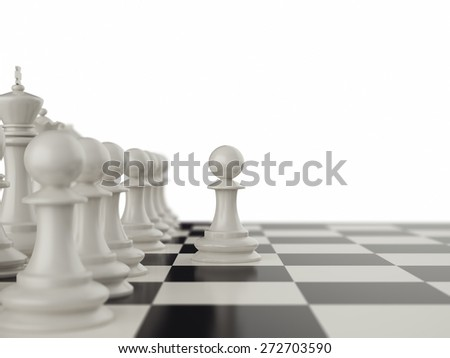 First move the pawns on a chessboard. 3d illustration - stock photo