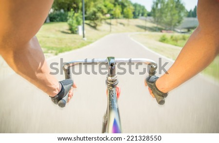 first person view on a sport bicycle - stock photo