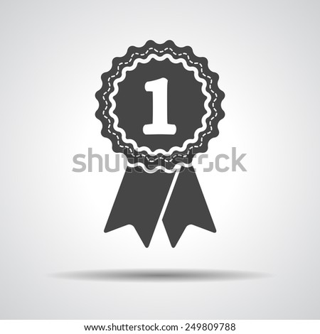 first place award badge with ribbons icon - stock photo