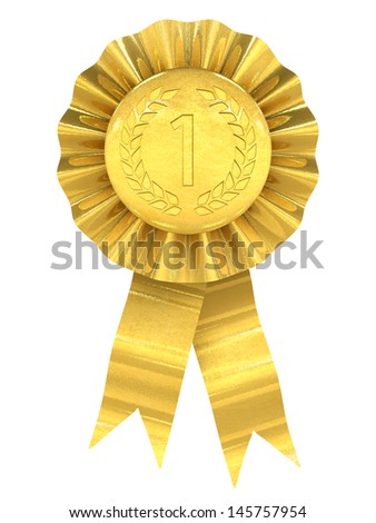 First place , gold rosette - stock photo