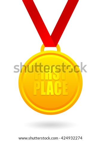 First place golden medal - stock photo