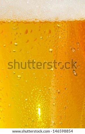 first plane of a glass of blond beer with foam     - stock photo