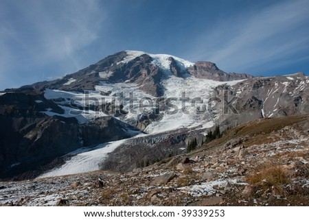 First Snow on the Mountain - stock photo