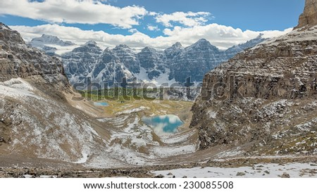 First Snow, Sentinel Pass, Temple Mount, Minnestimma Lakes, Banff National Park, Alberta, Canada - stock photo