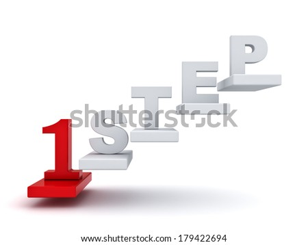 First step abstract concept over white background - stock photo