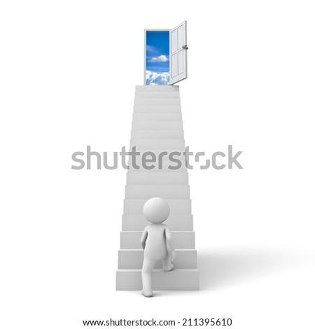 First step to success concept , 3d man stepping up to open door to the sky over white background - stock photo