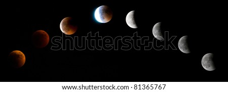 First total lunar eclipse took place after a gap of three years. Seen here is a selection of images catching the moment from just before total eclipse onwards. - stock photo